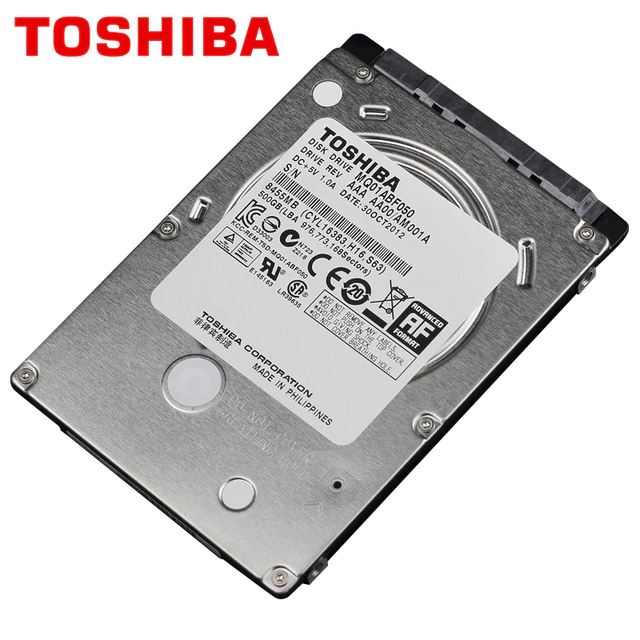 500GB 2.5 Toshiba MQ01ABF050 7mm Slim Hard Drive, SATA III, 5400 RPM, 5.56ms, 8MB Cache, New