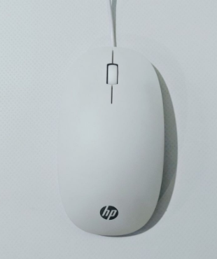 HP White USB Wired Scroll Mouse, New