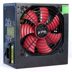 Pulse 650W PSU, ATX 12V, Active PFC, 4 x SATA, PCIe, 120mm Silent Red Fan, Black Casing - NEW